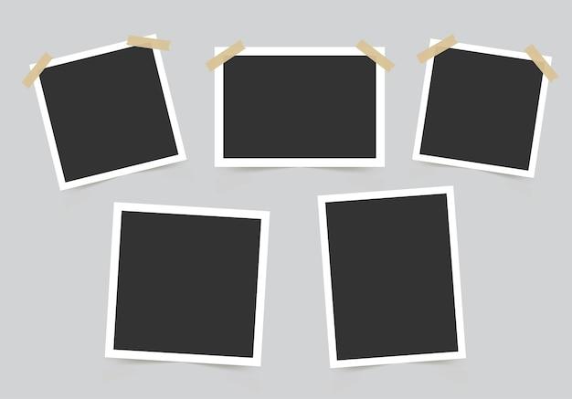 Conjunto de moldura de foto. maquete para suas fotos.
