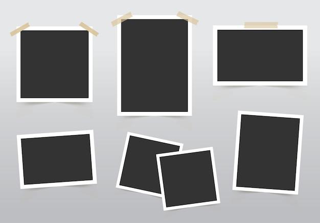 Conjunto de moldura de foto. modelo para suas fotos isoladas em fundo cinza.