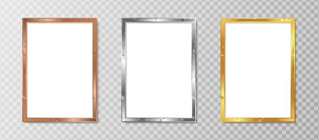 Conjunto de moldura de foto vertical realista com design luxuoso