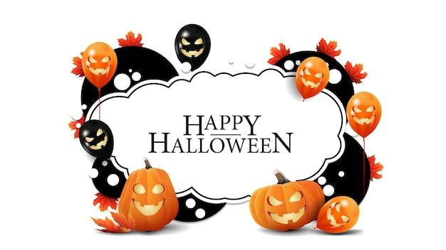 Conjunto de moldura de halloween e saudações com abóboras