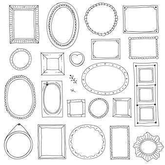 Conjunto de moldura de imagem desenhada de mão