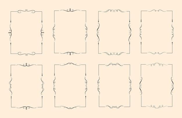 Conjunto de moldura decorativa decorativa caligráfica clássica