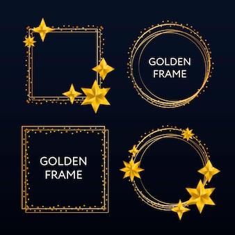 Conjunto de moldura dourada. borda de retângulo brilhante