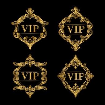 Conjunto de moldura dourada de luxo