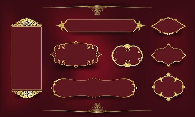 Conjunto de moldura dourada ornamental