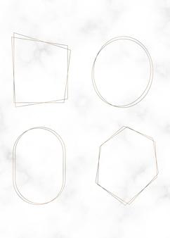 Conjunto de moldura dourada