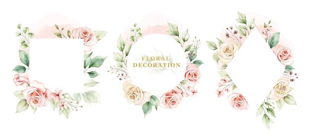 Conjunto de moldura em aquarela de rosas e folhas