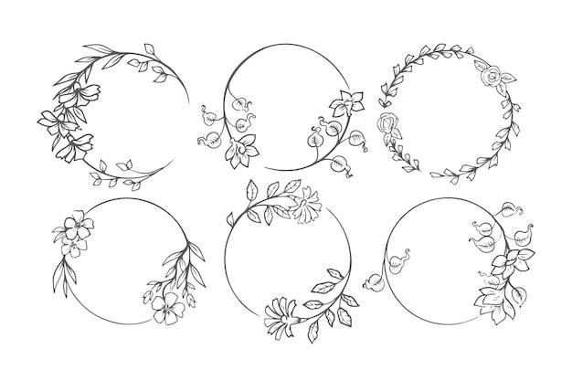Conjunto de moldura floral decorativa