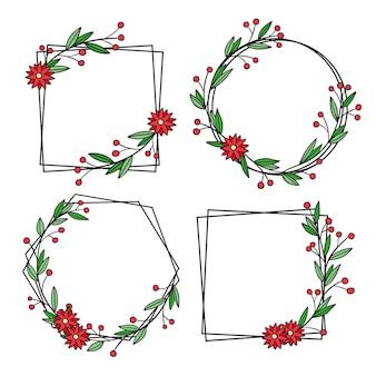 Conjunto de moldura floral desenhada à mão Vetor Premium