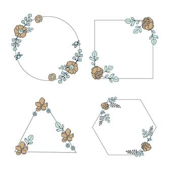 Conjunto de moldura floral desenhada à mão Vetor grátis