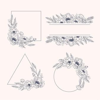 Conjunto de moldura floral desenhada à mão