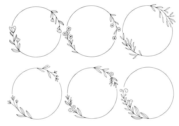Conjunto de moldura floral desenhada de mão
