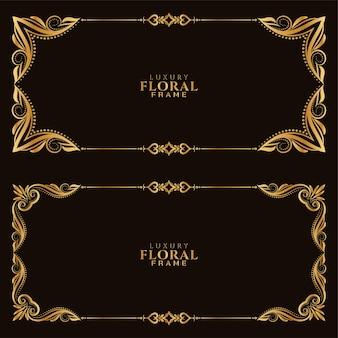 Conjunto de moldura floral dourada elegante
