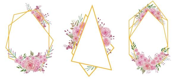 Conjunto de moldura geométrica de flor em aquarela rosa ouro