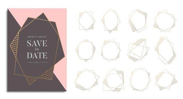 Conjunto de moldura geométrica de ouro