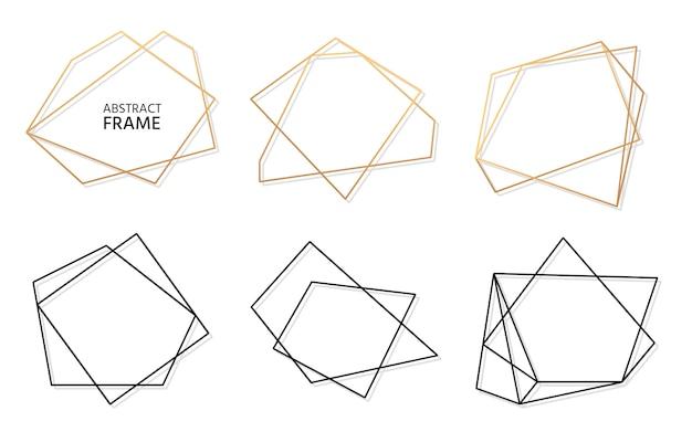 Conjunto de moldura geométrica poligonal abstrata de ouro e preto. modelo vazio para texto. quadro de poliedro moderno decorativo luxuoso.