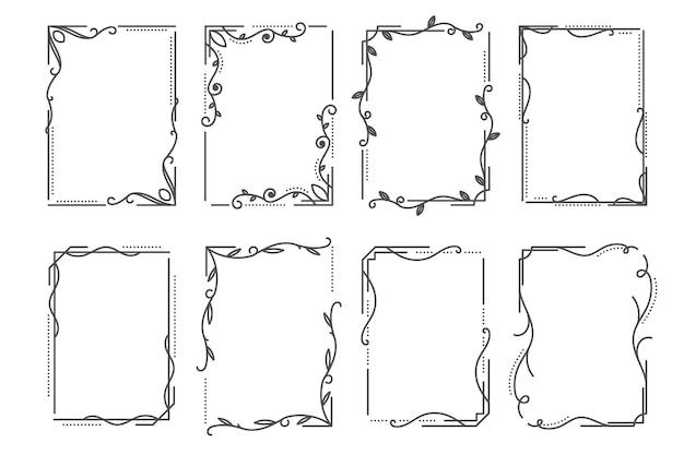 Conjunto de moldura ornamental caligráfica