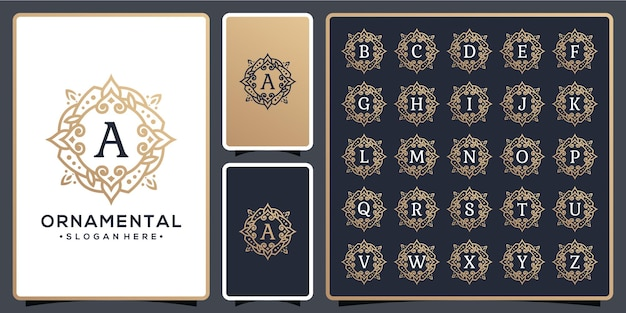 Conjunto de moldura ornamental para logotipo do alfabeto
