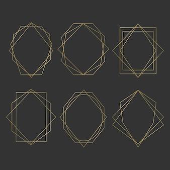 Conjunto de moldura poligonal dourada
