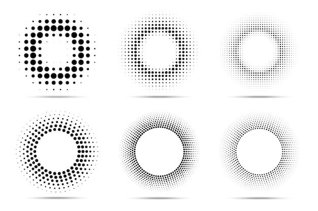 Conjunto de moldura pontilhada circular de meio-tom