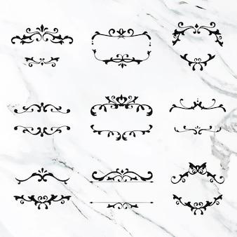 Conjunto de moldura preta ornamental elegante