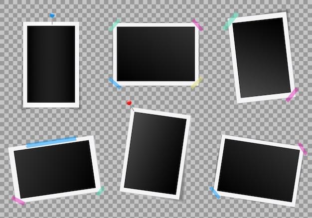 Conjunto de moldura quadrada com sombras.