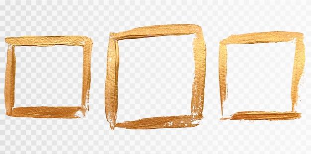 Conjunto de moldura quadrada de ouro