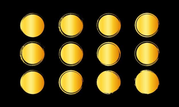 Conjunto de moldura redonda colorida de ouro, conceito desenhado de mão de círculo dourado.