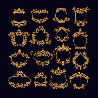 Conjunto de moldura vintage ouro