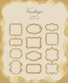 Conjunto de moldura vintage
