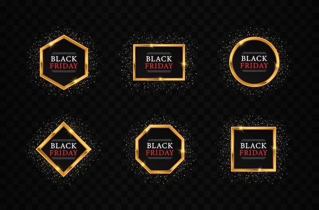 Conjunto de molduras brilhantes douradas para sexta-feira negra