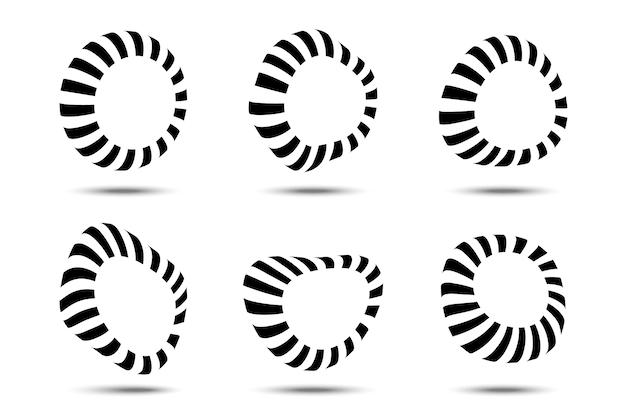 Conjunto de molduras circulares listradas formas de distorção em listras tridimensionais