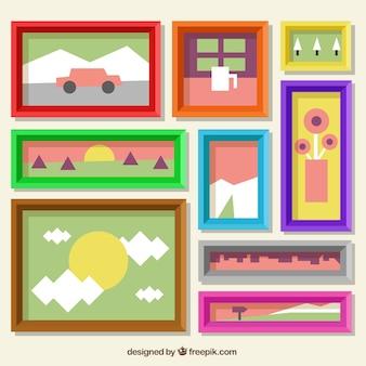 Conjunto de molduras coloridas em design plano