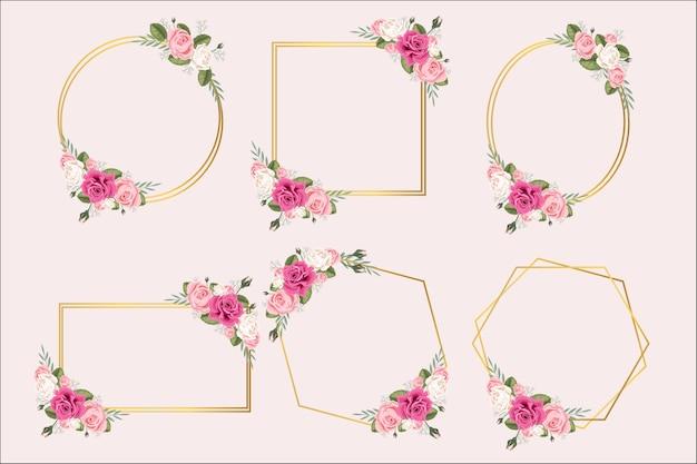 Conjunto de molduras com flor rosa e folhas