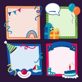 Conjunto de molduras de colagem de aniversário desenhada à mão para copiar espaço