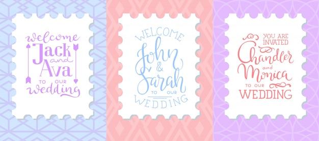 Conjunto de molduras de convite de casamento; folhas, aquarela