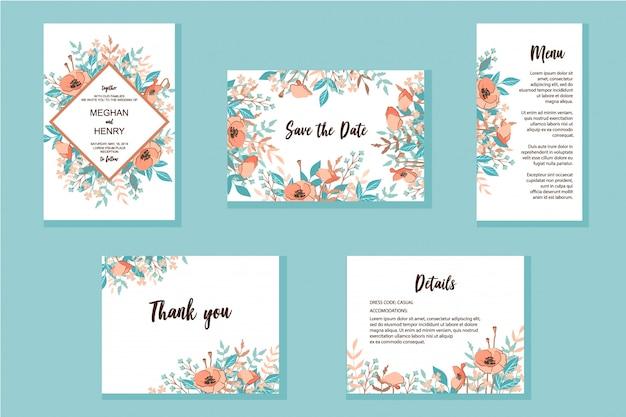 Conjunto de molduras de convite de casamento