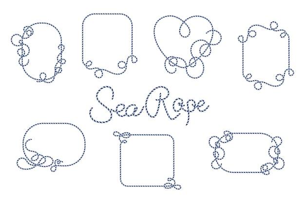 Conjunto de molduras de corda modelo de ilustração vetorial