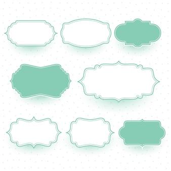 Conjunto de molduras de etiquetas de casamento em cores pastel