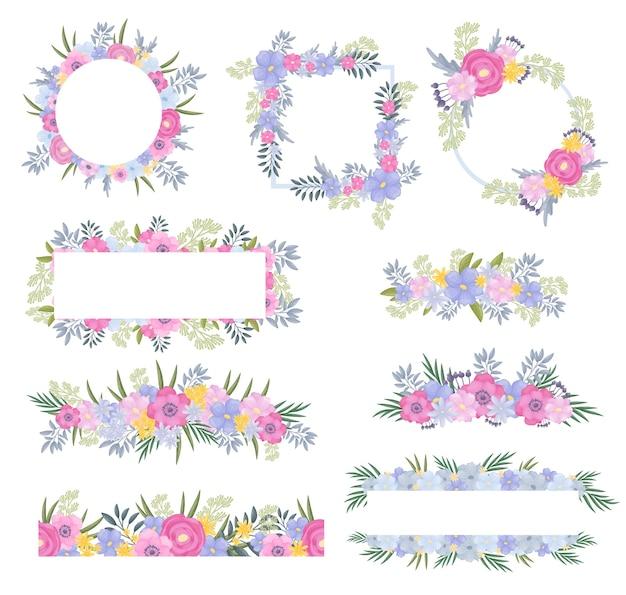 Conjunto de molduras de flores e folhas em tons claros