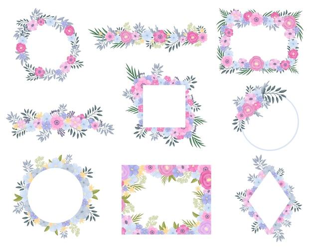 Conjunto de molduras de flores e folhas verdes claras