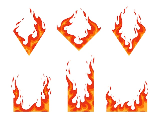 Conjunto de molduras de fogo queimar energia quente energia térmica ilustração inflamável chama na forma de um diamante e um retângulo para design diferente plano de desenho animado