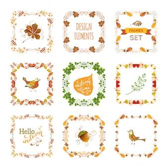 Conjunto de molduras de folhas de outono