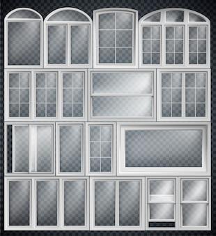 Conjunto de molduras de janela isoladas em fundo transparente