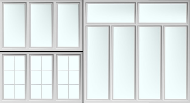 Conjunto de molduras de janelas brilhantes isoladas com vidros fechados.