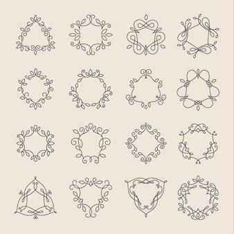 Conjunto de molduras de monograma preto de contorno logotipo de linhas elegantes