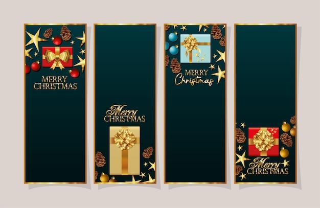 Conjunto de molduras de natal com banner de caixas de presentes