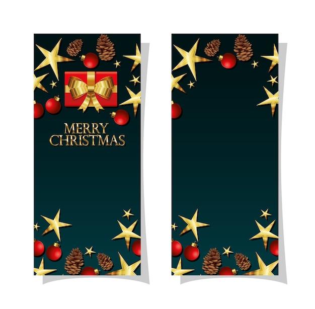 Conjunto de molduras de natal com estandarte de pinheiros e grandes estrelas