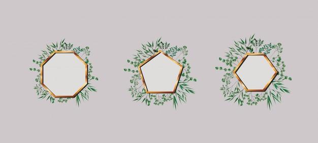 Conjunto de molduras de ouro geometrics e folhas
