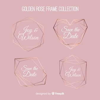 Conjunto de molduras de ouro rosa textura metálica